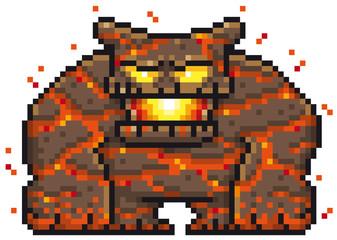 Vector illustration of Cartoon Monster Lava - Pixel design