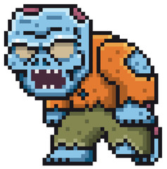 Wall Murals Pixel Vector illustration of Cartoon Zombie - Pixel design