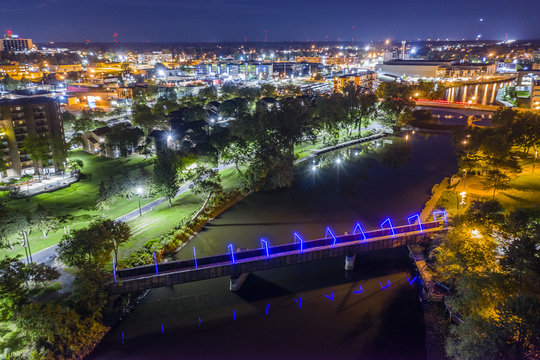 downtown Lansing Michigan bridge night photo