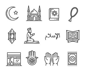Muslim religion holy culture outline icons