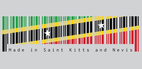 Barcode set the color of Saint Kitts and Nevis flag, yellow edged black diagonal with star, triangle green and red. text: Made in Saint Kitts and Nevis. concept of sale or business.