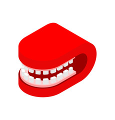 Grin mouth Closed isometric style isolated. Vector illustration