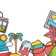 Summer frame cartoon