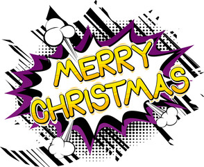 Merry Christmas - Vector illustrated comic book style phrase.