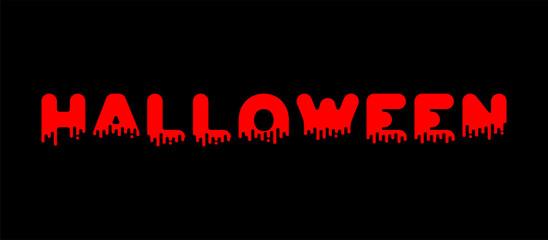 Halloween lettering blood. Red liquid letter. Vector illustration