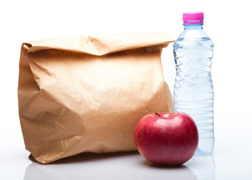 Paper Lunch Bag with Red Apple and Water