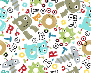 Seamless pattern vector with funny robots cartoon