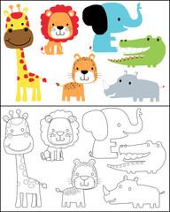 Vector set of safari animals cartoon, coloring book or page