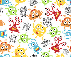Seamless pattern vector with funny monster alien cartoon