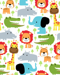 Seamless pattern vector with colorful animals cartoon