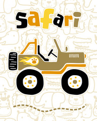 vector illustration of safari car cartoon on seamless pattern animals background