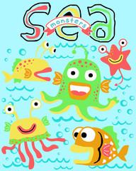 vector illustration of sea monsters cartoon
