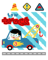 Vector iluustration of boy on tow truck cartoon with traffic signs