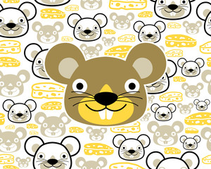 Seamless pattern vector with funny mouse cartoon with cheese