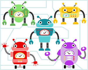 Vector set of robots cartoon
