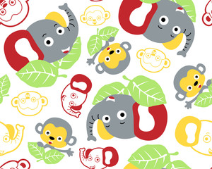 Vector seamless pattern of cute animals head cartoon
