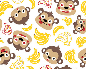 Vector seamless pattern of monkeys cartoon with bananas