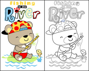 vector of coloring book or page with little bear cartoon fishing