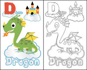 vector of coloring book or page with little dragon cartoon