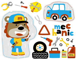 Vector set of funny mechanic cartoon with vehicle