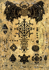Magic book page with devil demon and evil symbols on old paper textured background. Esoteric, occult and Halloween concept, illustration with mystic symbols and sacred geometry