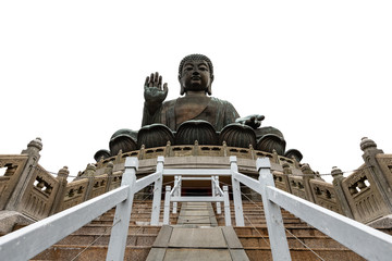 tian tan bhuddha statue on the mountain and white background hong kong china