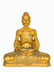 golden buddha sitting meditating isolate