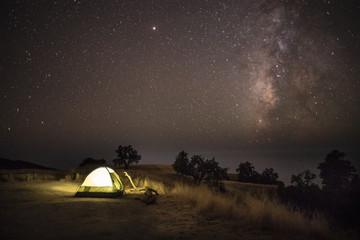 Camping under Starry Night Sky
