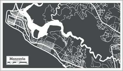 Monrovia Liberia City Map in Retro Style. Outline Map.