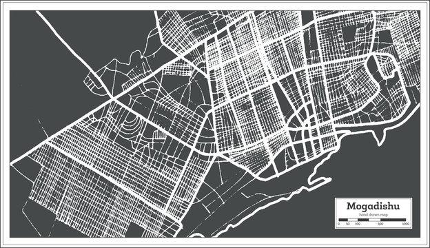 Mogadishu Somalia City Map in Retro Style. Outline Map.
