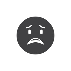Sad emoticon vector icon. filled flat sign for mobile concept and web design. Surprised face emoji simple solid icon. Symbol, logo illustration. Pixel perfect vector graphics
