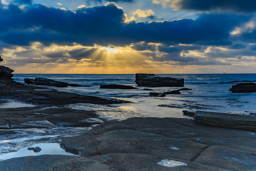 Sun Rays burst through the Clouds - Seascape
