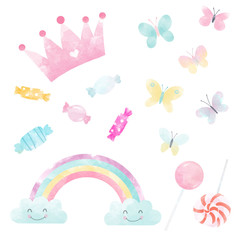 Watercolor sweets butterflies rainbow