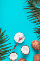 Coconut oil and coconuts.