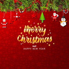 Merry Christmas with fir branches, pine cones, holly, and string lights. Christmas greeting card vector design.