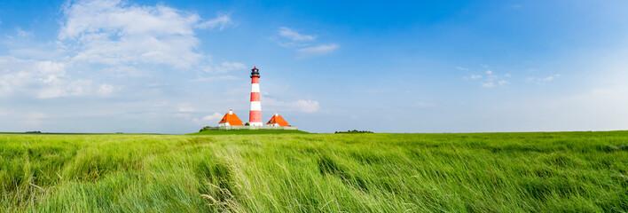 Fototapeten Leuchtturm Typisches Norfriesland - Leuchtturm Westhever Sand, Banner