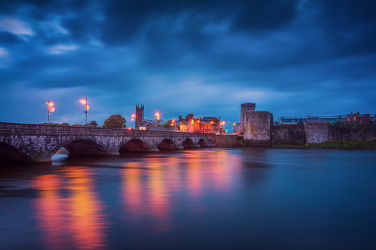 Beautiful panoramic view over medieval King John's Castle and River Shannon in Limerick city, Republic of Ireland
