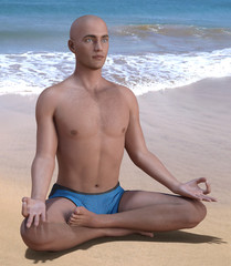 Bald man in blue briefs practising the siddhasana or accomplished yoga pose on a sandy beach. 3d render.