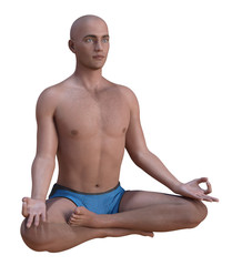 Bald man in blue briefs practising the siddhasana or accomplished yoga pose. 3d render isolated on white.