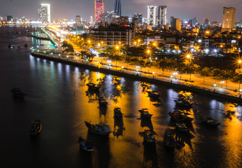 Boats in Han river, Da Nang, Viet Nam