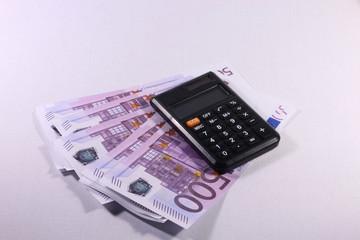 Calculator, euro, crypto currency, bitcoin