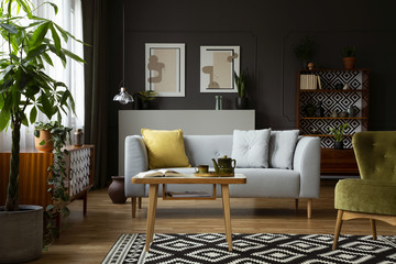 Real photo of a vintage living room interior with a coffee table, sofa, plant and paintings