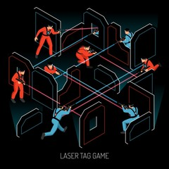 Laser Tag Isometric Composition
