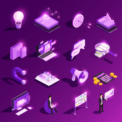 Marketing Glowing Icons Collection