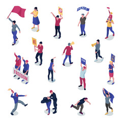 Protesting People Isometric Set