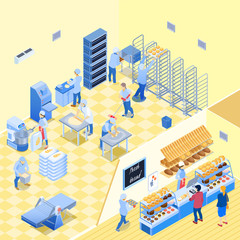 Bakery Inside Isometric Illustration
