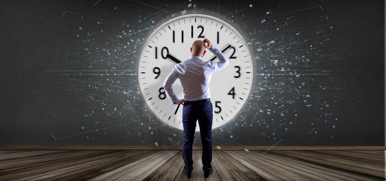 Man holding a clock timer 3d rendering