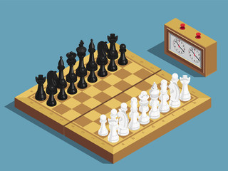 Chess Beginning Isometric Composition