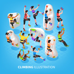Isometric Climbing Sports Background