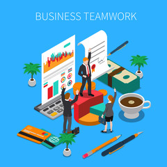 Business Teamwork Isometric Concept